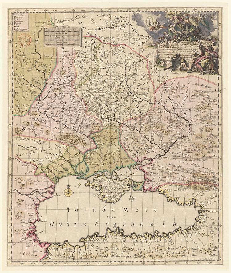Карта Юга России Брюса-Менгдена, составленная в 1696 году (II вариант)