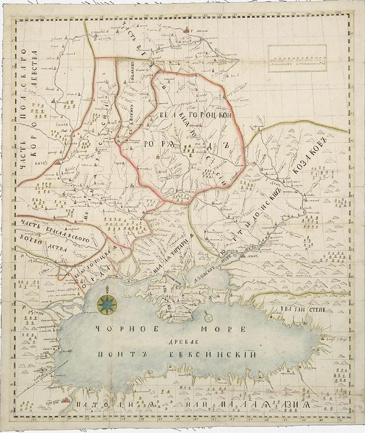 Карта Юга России Брюса-Менгдена, составленная в 1696 году (III вариант, рукописная копия)
