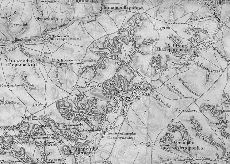 Фрагмент военно-топографической карты Шуберта 1860-х годов с Удами.