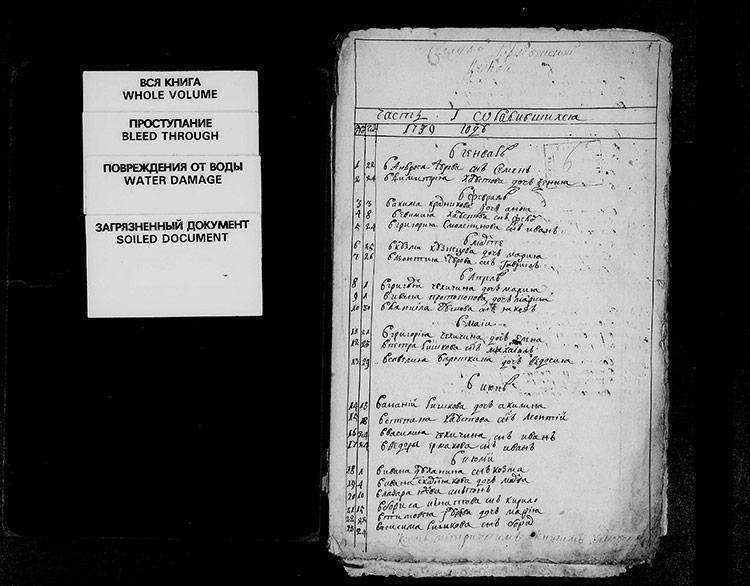 Метрическая книга села Уды за 1739 год