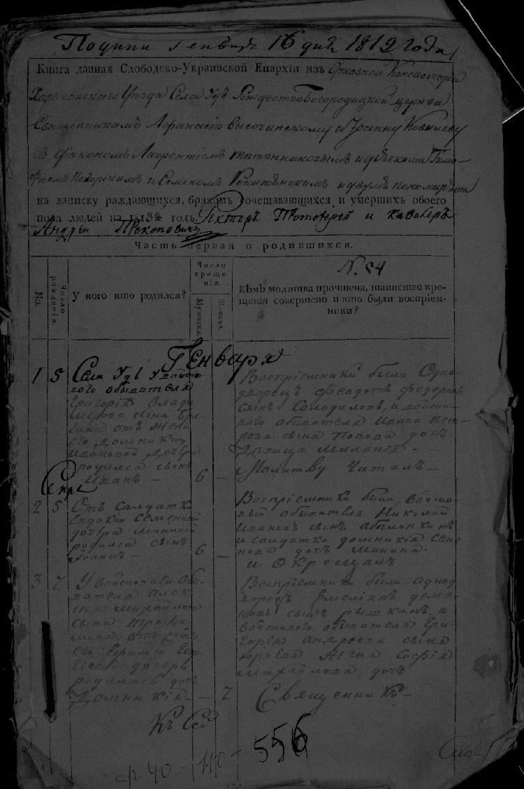 Метрическая книга села Уды за 1818 год
