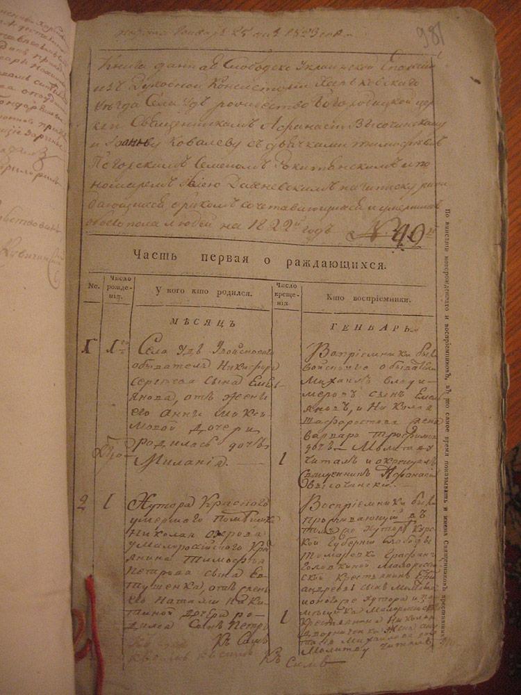 Метрическая книга села Уды за 1822 год